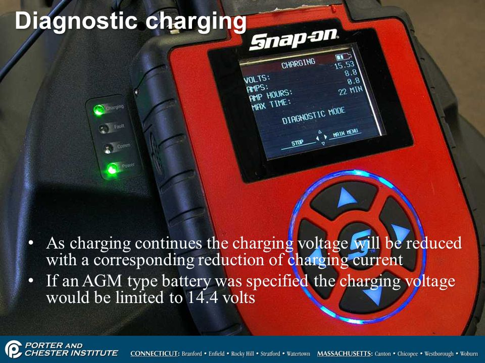 40 Diagnostic charging As charging continues the charging voltage will be reduced with a corresponding reduction of charging current If an AGM type ba
