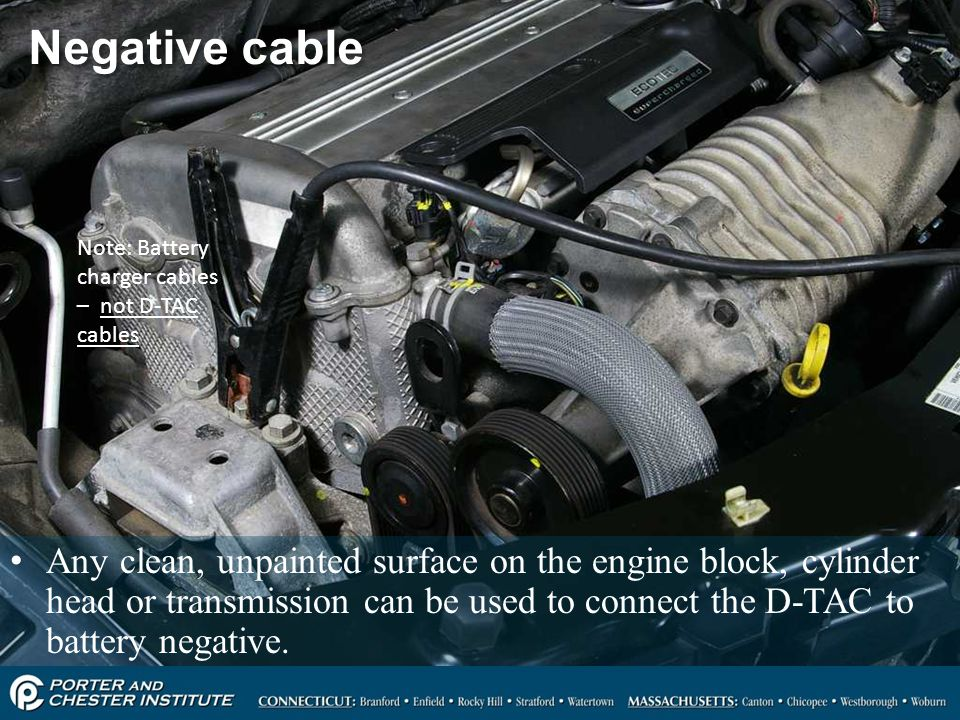 56 Negative cable Any clean, unpainted surface on the engine block, cylinder head or transmission can be used to connect the D-TAC to battery negative