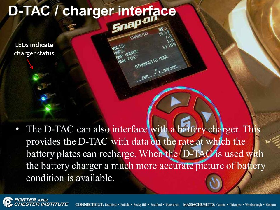 6 D-TAC / charger interface The D-TAC can also interface with a battery charger.