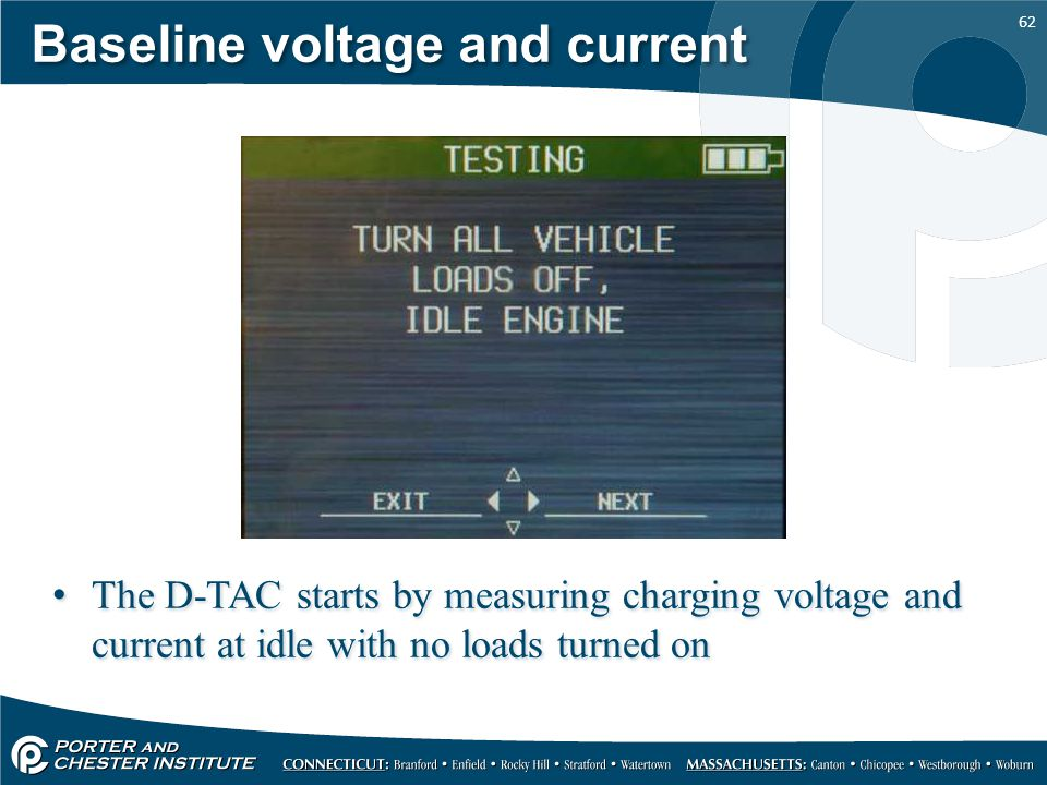62 Baseline voltage and current The D-TAC starts by measuring charging voltage and current at idle with no loads turned on