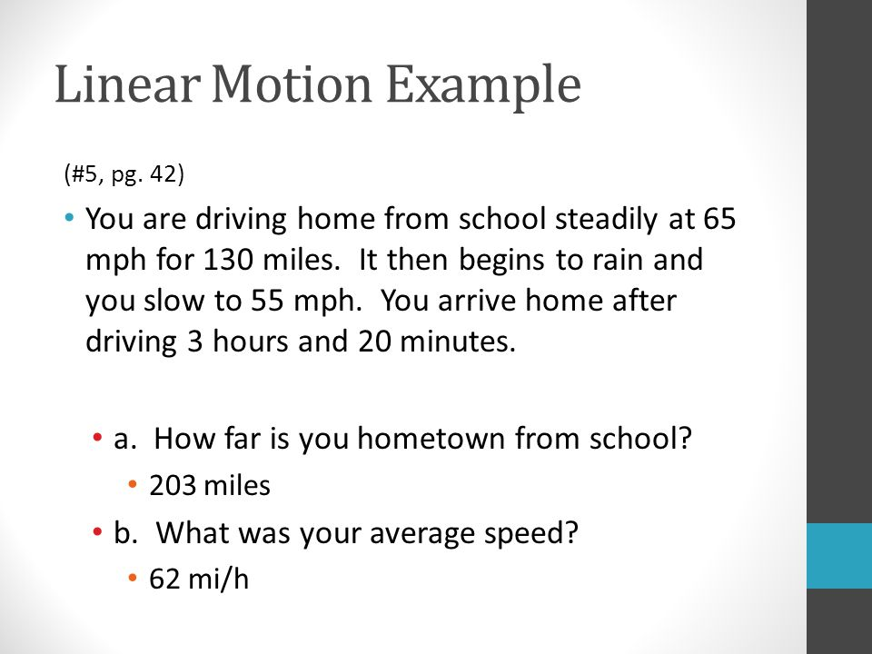 Linear Motion Example (#5, pg.