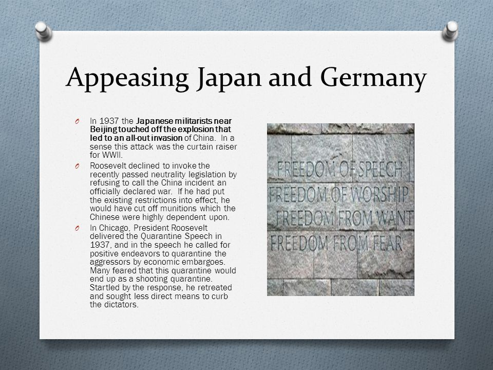 Appeasing Japan and Germany O In 1937 the Japanese militarists near Beijing touched off the explosion that led to an all-out invasion of China.