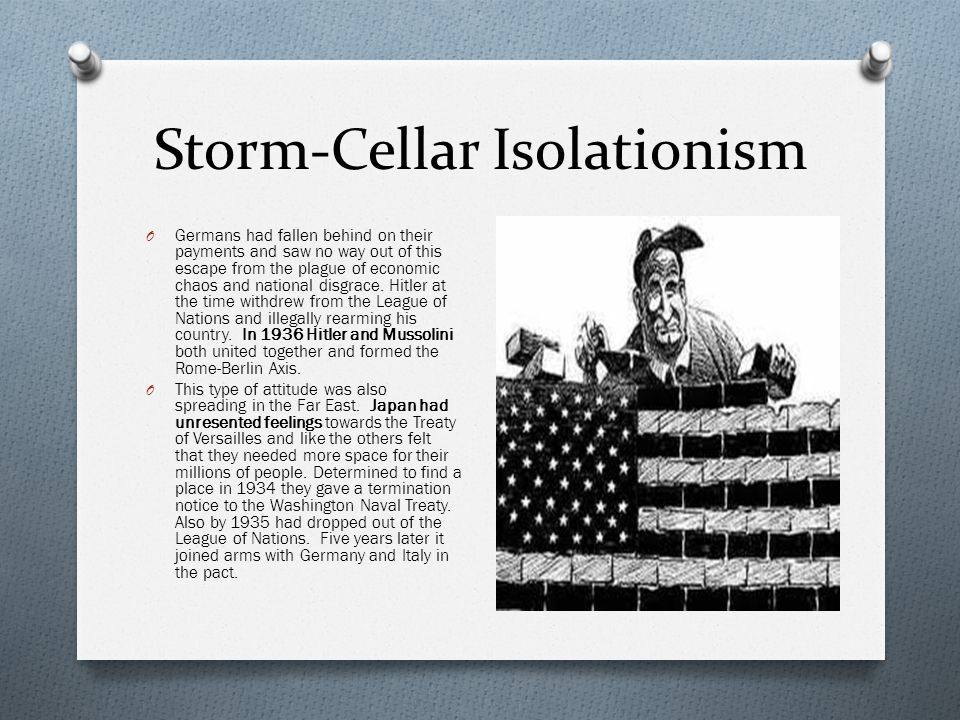 Storm-Cellar Isolationism O Germans had fallen behind on their payments and saw no way out of this escape from the plague of economic chaos and national disgrace.