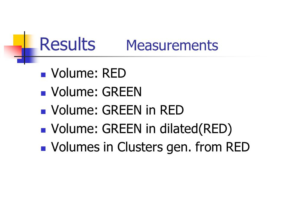 Results Measurements Volume: RED Volume: GREEN Volume: GREEN in RED Volume: GREEN in dilated(RED) Volumes in Clusters gen.