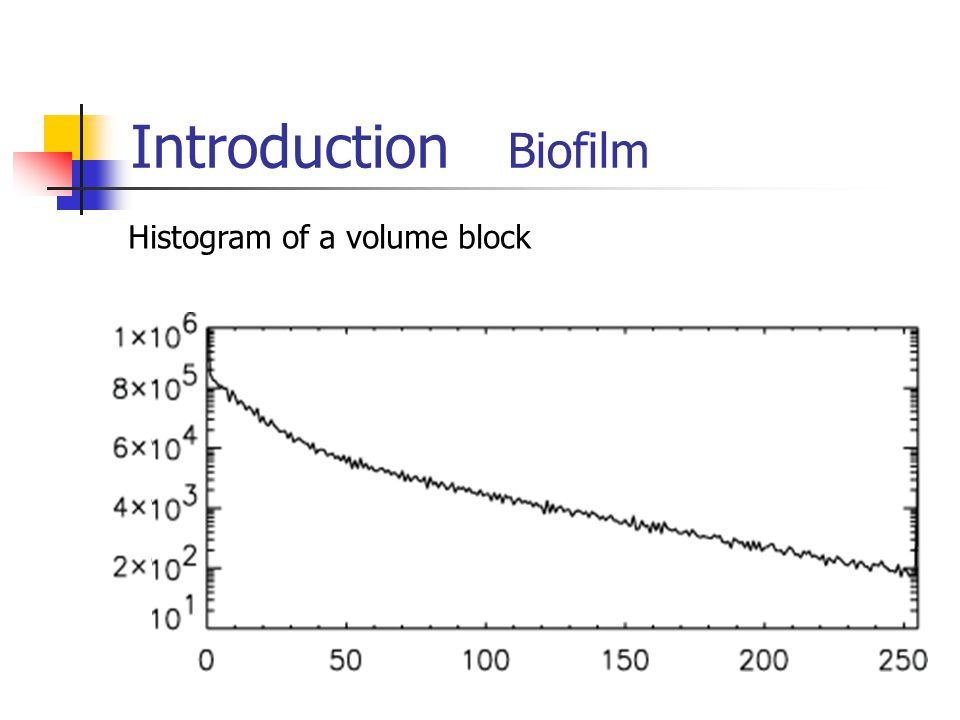 Introduction Biofilm Histogram of a volume block