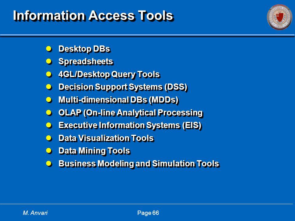 M. Anvari Page 66 Information Access Tools Desktop DBs Desktop DBs Spreadsheets Spreadsheets 4GL/Desktop Query Tools 4GL/Desktop Query Tools Decision