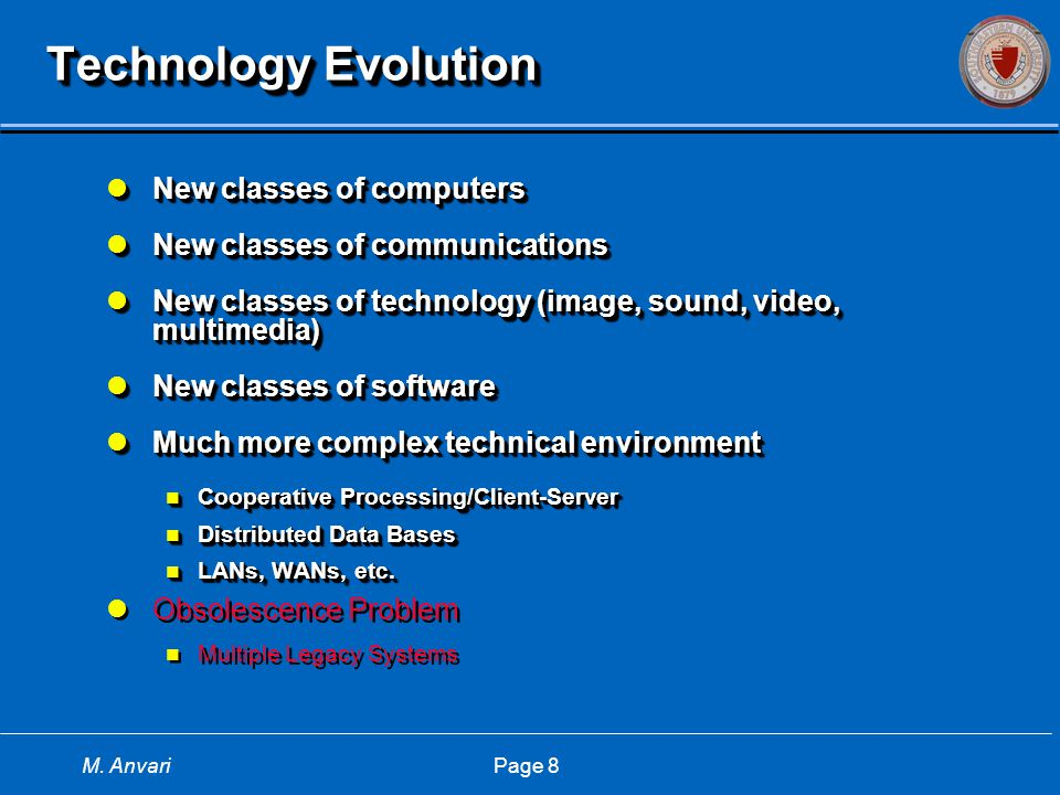 M. Anvari Page 8 Technology Evolution New classes of computers New classes of computers New classes of communications New classes of communications Ne
