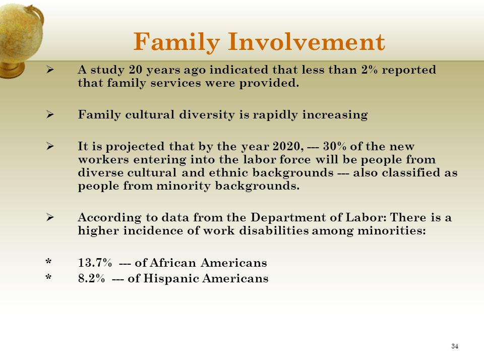 34 Family Involvement  A study 20 years ago indicated that less than 2% reported that family services were provided.  Family cultural diversity is r