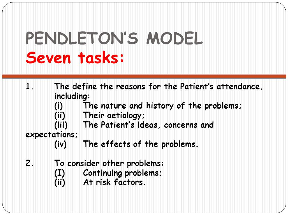 PENDLETON'S MODEL Seven tasks: 1.The define the reasons for the Patient's attendance, including: (i)The nature and history of the problems; (ii) Their