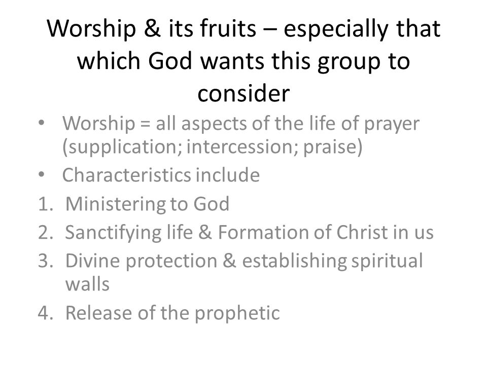 Worship & its fruits – especially that which God wants this group to consider Worship = all aspects of the life of prayer (supplication; intercession; praise) Characteristics include 1.Ministering to God 2.Sanctifying life & Formation of Christ in us 3.Divine protection & establishing spiritual walls 4.Release of the prophetic