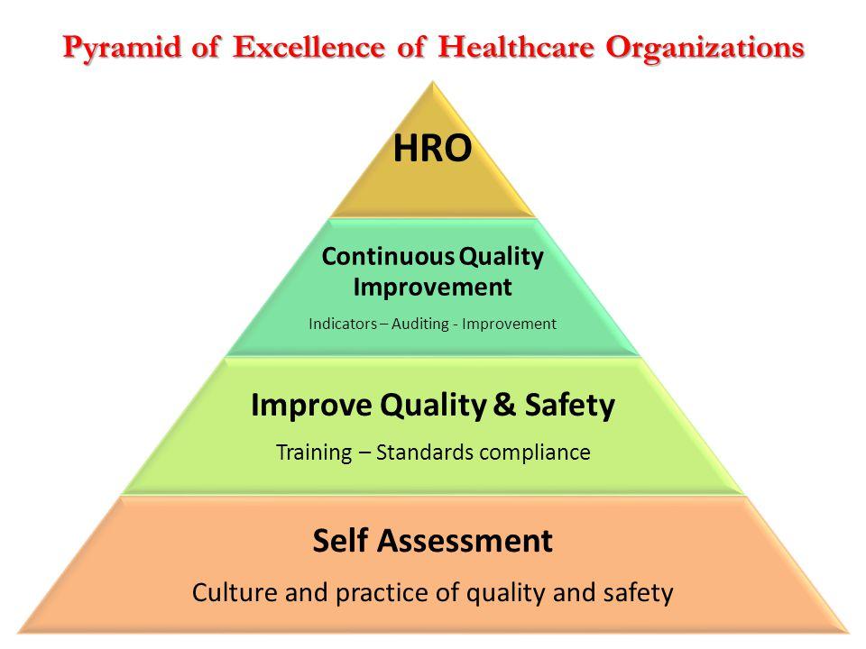 HRO Continuous Quality Improvement Indicators – Auditing - Improvement Improve Quality & Safety Training – Standards compliance Self Assessment Cultur