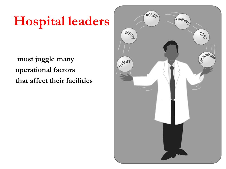 Hospital leaders must juggle many operational factors that affect their facilities 7