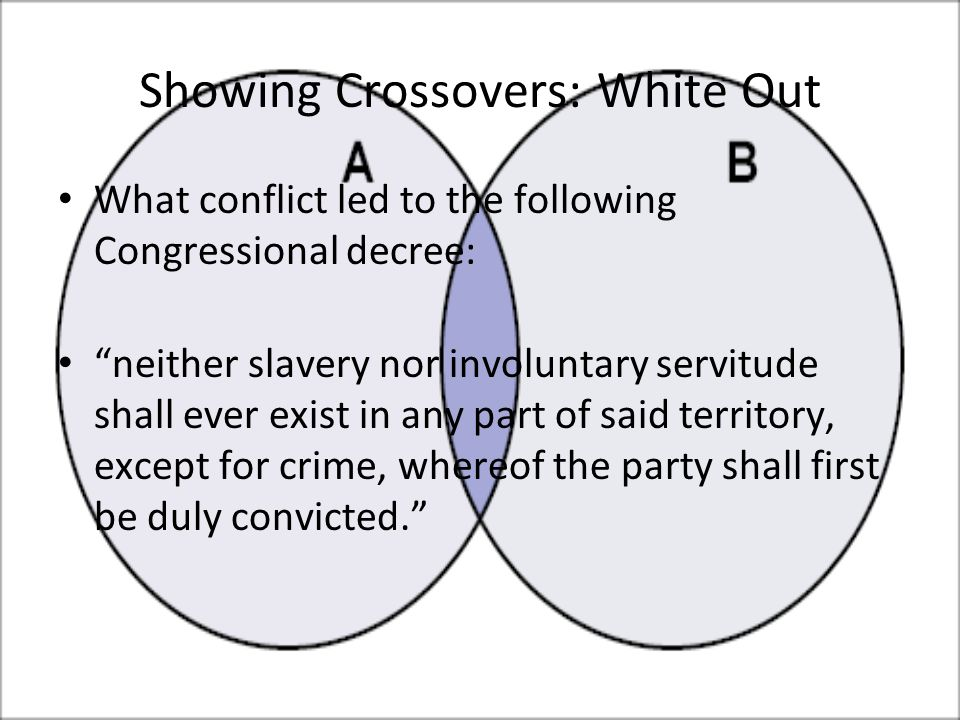 Showing Crossovers: White Out What conflict led to the following Congressional decree: neither slavery nor involuntary servitude shall ever exist in any part of said territory, except for crime, whereof the party shall first be duly convicted.