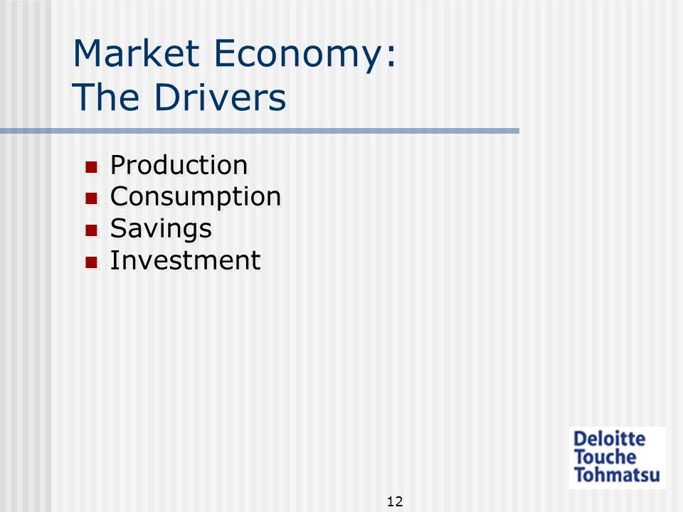 12 Market Economy: The Drivers Production Consumption Savings Investment Production Consumption Savings Investment