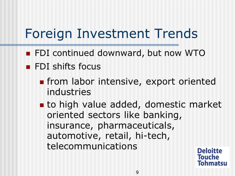 9 Foreign Investment Trends FDI continued downward, but now WTO FDI shifts focus from labor intensive, export oriented industries to high value added, domestic market oriented sectors like banking, insurance, pharmaceuticals, automotive, retail, hi-tech, telecommunications