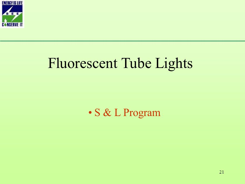 21 Fluorescent Tube Lights S & L Program