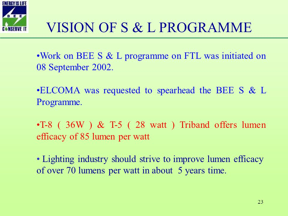 23 Work on BEE S & L programme on FTL was initiated on 08 September 2002.