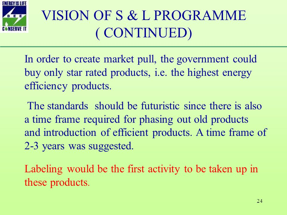 24 In order to create market pull, the government could buy only star rated products, i.e.