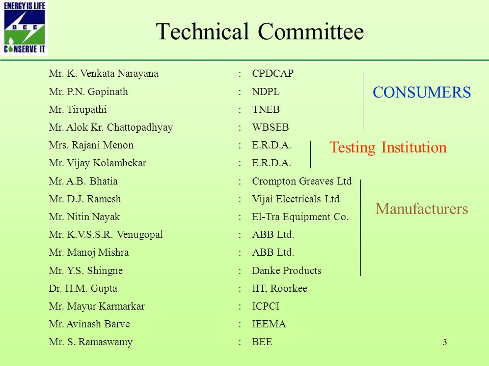 3 Technical Committee Mr. K. Venkata Narayana:CPDCAP Mr.