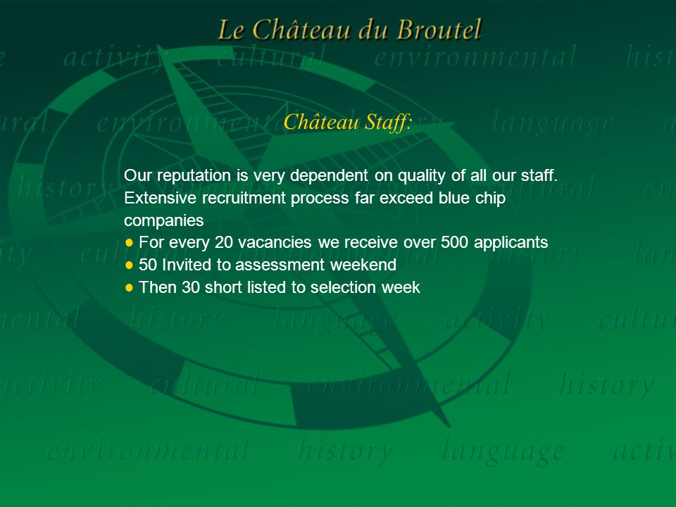 Château Staff: Our reputation is very dependent on quality of all our staff.