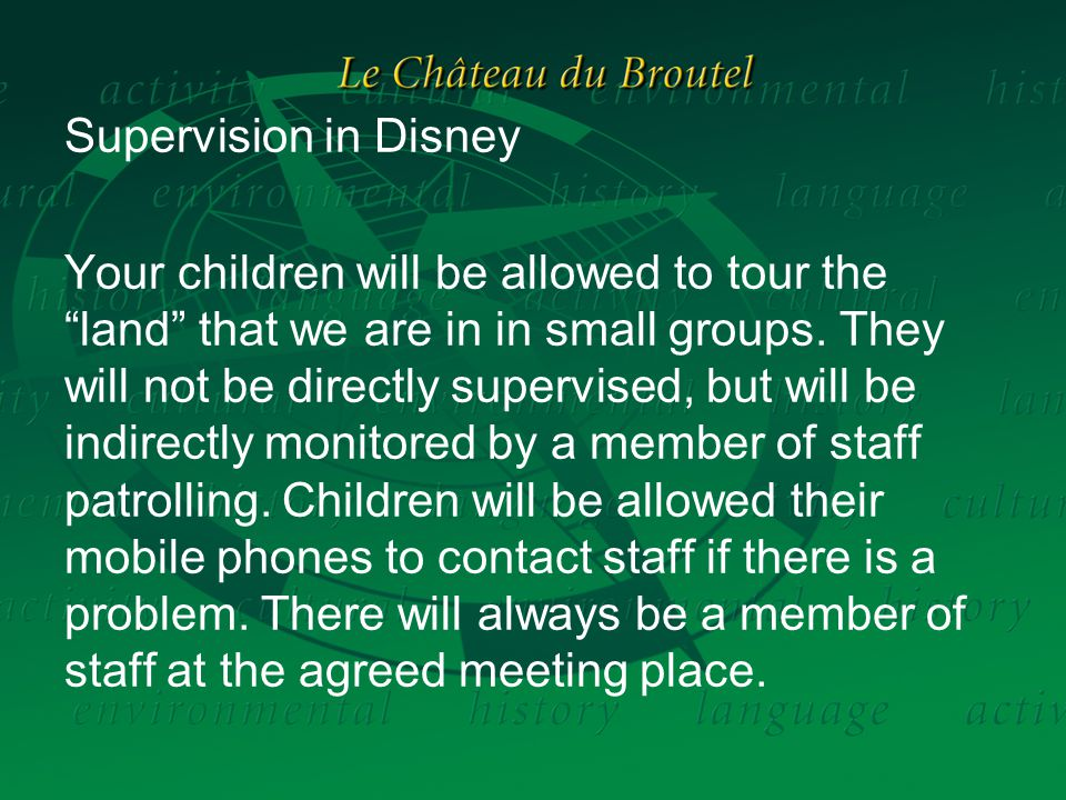 Supervision in Disney Your children will be allowed to tour the land that we are in in small groups.