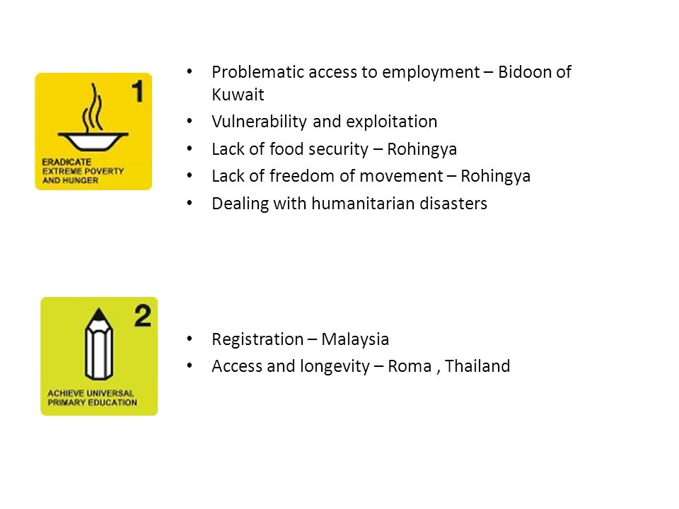 Problematic access to employment – Bidoon of Kuwait Vulnerability and exploitation Lack of food security – Rohingya Lack of freedom of movement – Rohingya Dealing with humanitarian disasters Registration – Malaysia Access and longevity – Roma, Thailand