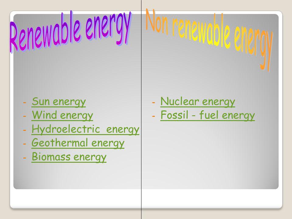-S-Sun energy -W-Wind energy -H-Hydroelectric energy -G-Geothermal energy -B-Biomass energy - Nuclear energy Nuclear energy - Fossil - fuel energy Fossil - fuel energy