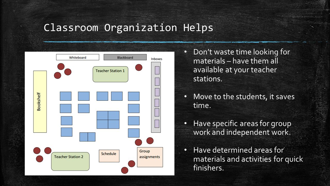 Classroom Organization Helps Don't waste time looking for materials – have them all available at your teacher stations.