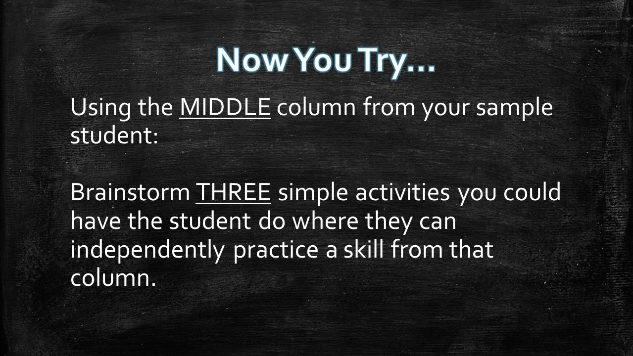 Using the MIDDLE column from your sample student: Brainstorm THREE simple activities you could have the student do where they can independently practice a skill from that column.