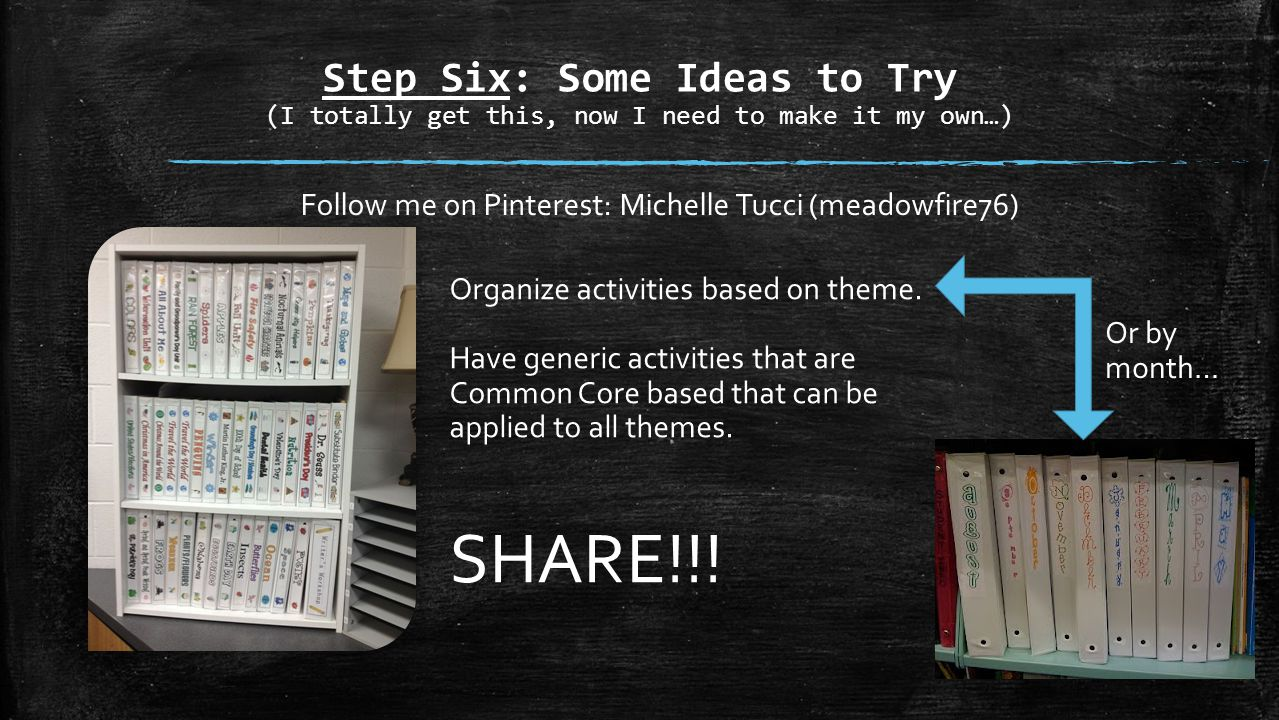 Step Six: Some Ideas to Try (I totally get this, now I need to make it my own…) Follow me on Pinterest: Michelle Tucci (meadowfire76) Organize activities based on theme.