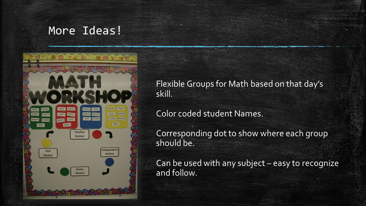 More Ideas. Flexible Groups for Math based on that day's skill.