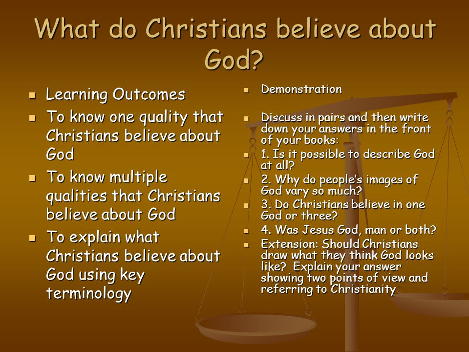 What do Christians believe about God.