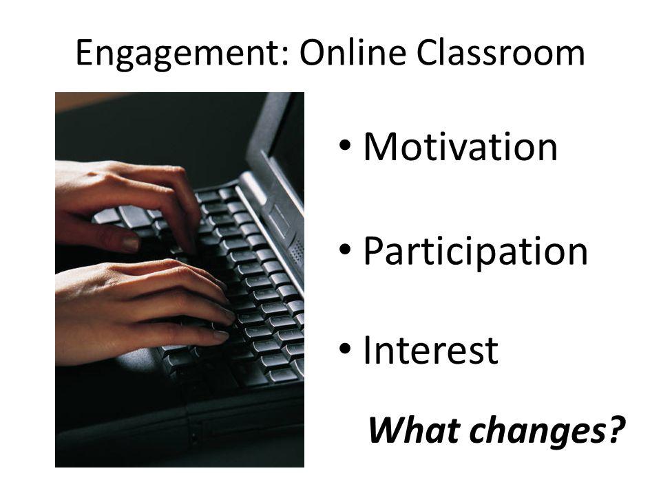 Engagement: Online Classroom Motivation Participation Interest What changes