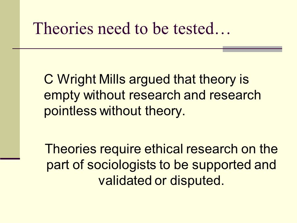 Theories need to be tested… C Wright Mills argued that theory is empty without research and research pointless without theory. Theories require ethica