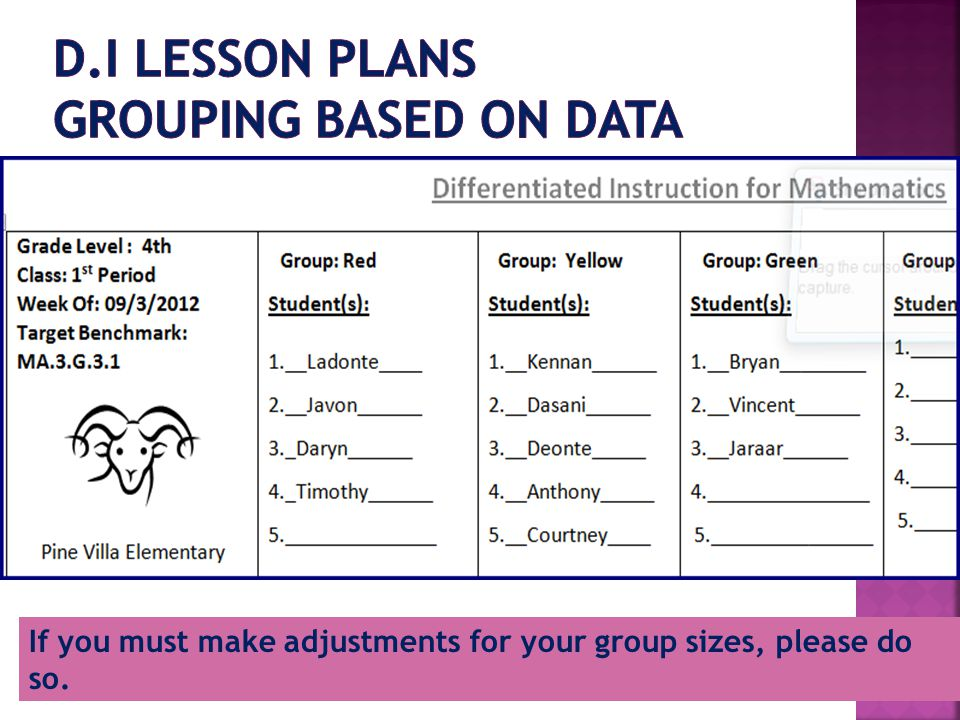 If you must make adjustments for your group sizes, please do so.