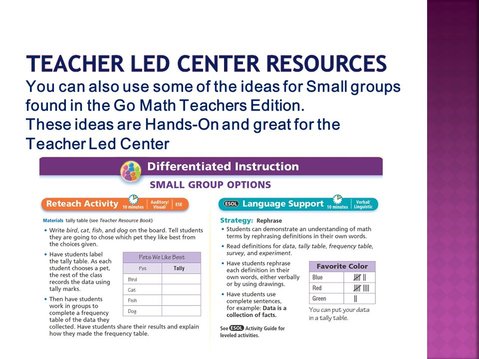 You can also use some of the ideas for Small groups found in the Go Math Teachers Edition.