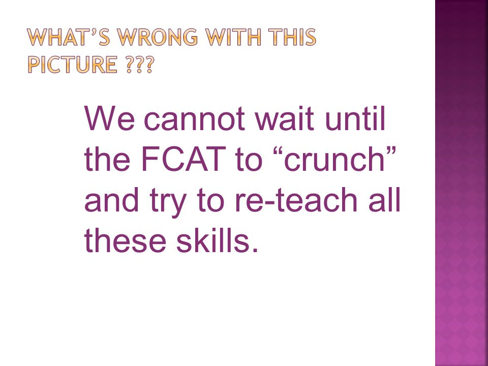 We cannot wait until the FCAT to crunch and try to re-teach all these skills.