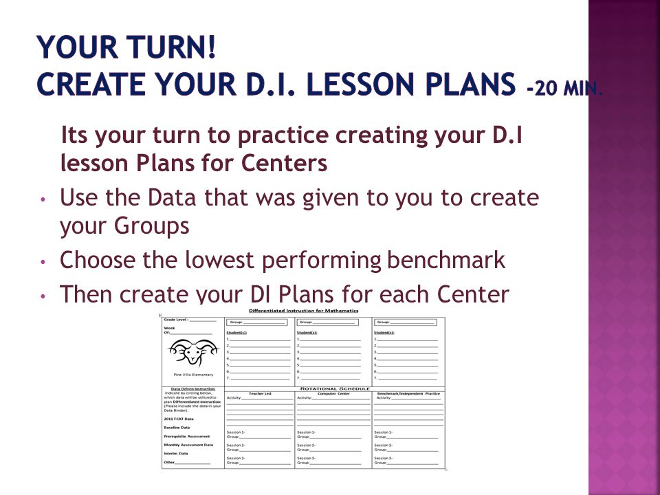 Its your turn to practice creating your D.I lesson Plans for Centers Use the Data that was given to you to create your Groups Choose the lowest perfor