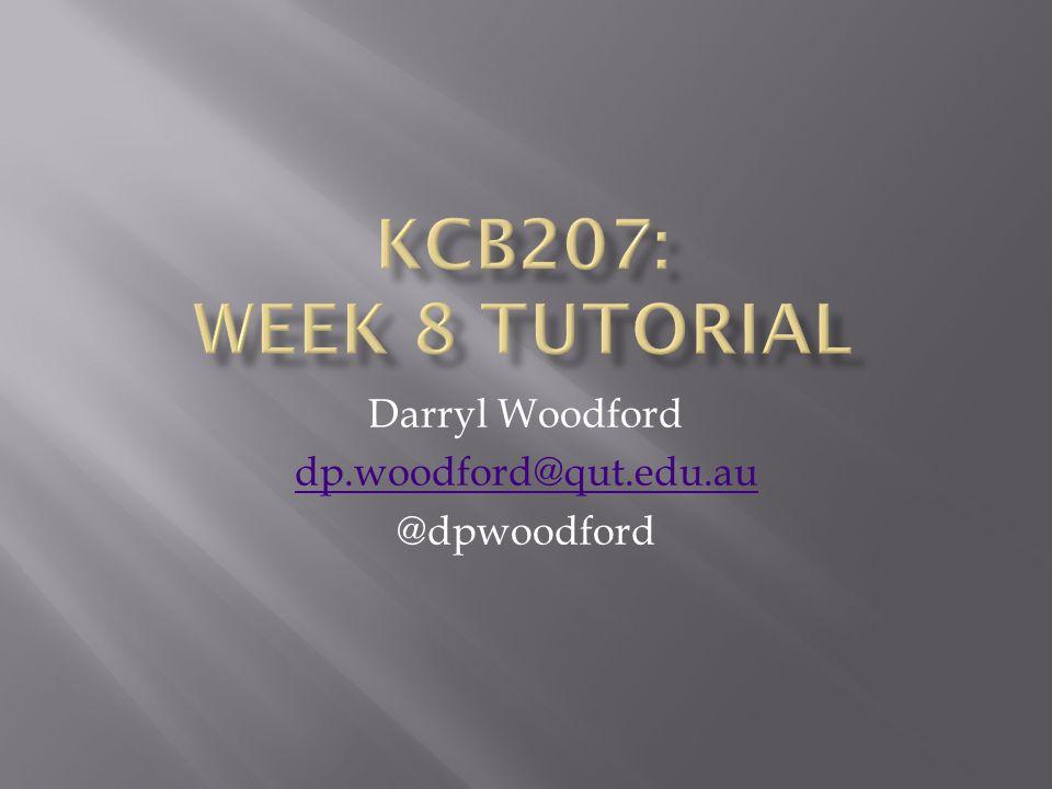Darryl Woodford dp.woodford@qut.edu.au @dpwoodford