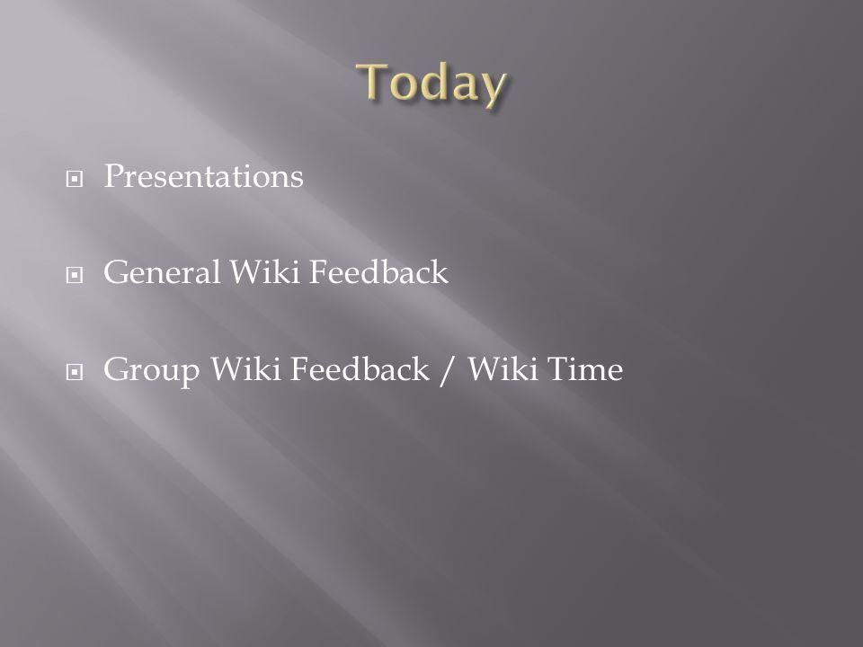  Presentations  General Wiki Feedback  Group Wiki Feedback / Wiki Time