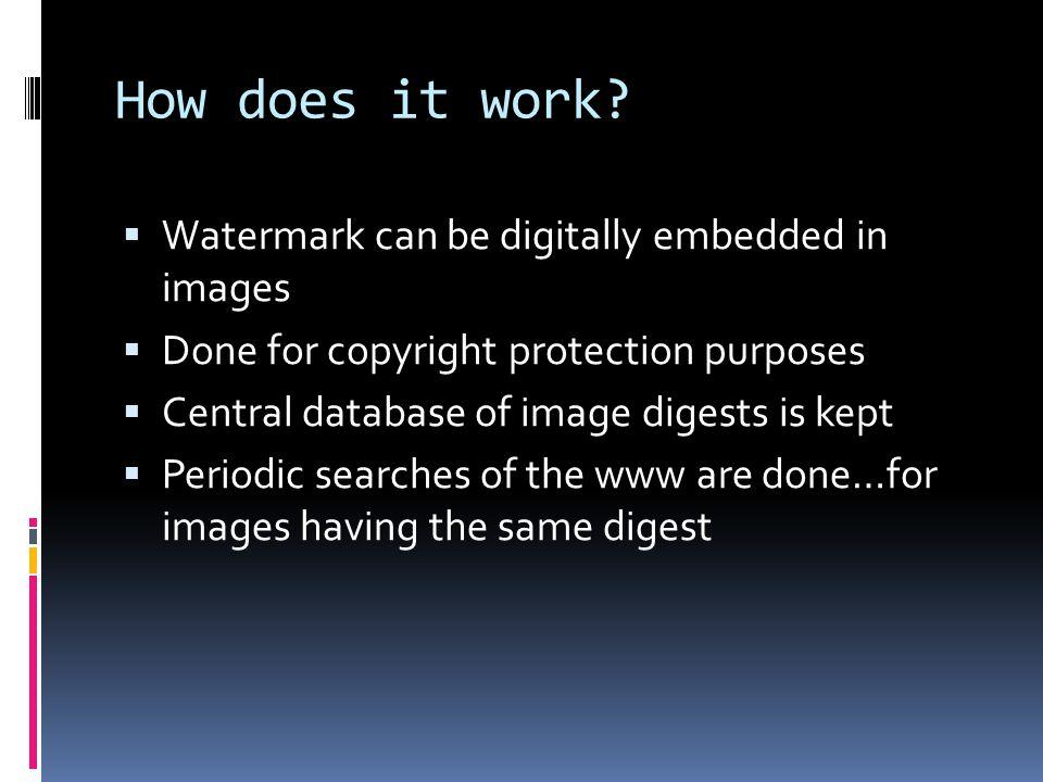 Types of watermarking  Video watermarking  Image watermarking  Audio watermarking