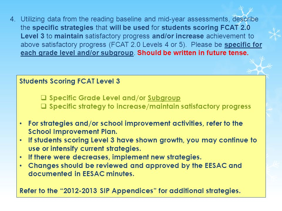 25 Students Scoring FCAT Level 3  Specific Grade Level and/or Subgroup  Specific strategy to increase/maintain satisfactory progress For strategies and/or school improvement activities, refer to the School Improvement Plan.