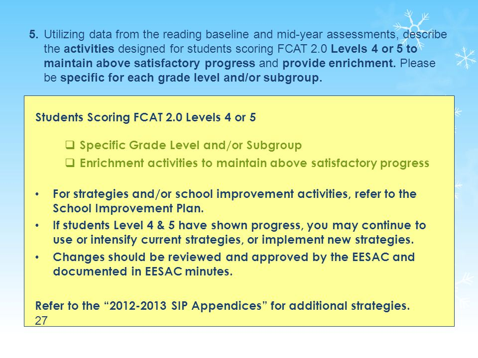 5. Utilizing data from the reading baseline and mid-year assessments, describe the activities designed for students scoring FCAT 2.0 Levels 4 or 5 to