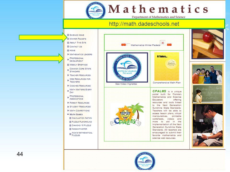 44 http://math.dadeschools.net