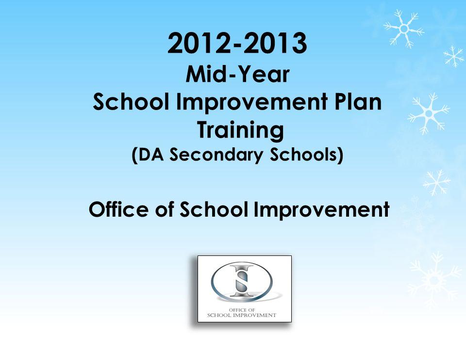 2012-2013 Mid-Year School Improvement Plan Training (DA Secondary Schools) Office of School Improvement