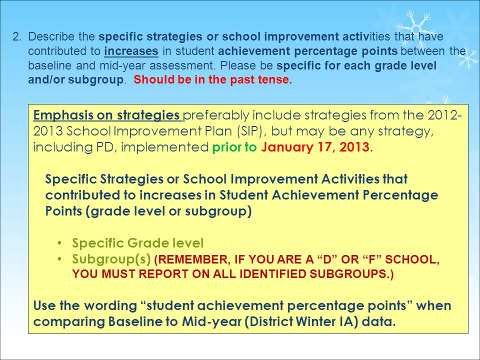 21 2.Describe the specific strategies or school improvement activities that have contributed to increases in student achievement percentage points between the baseline and mid-year assessment.