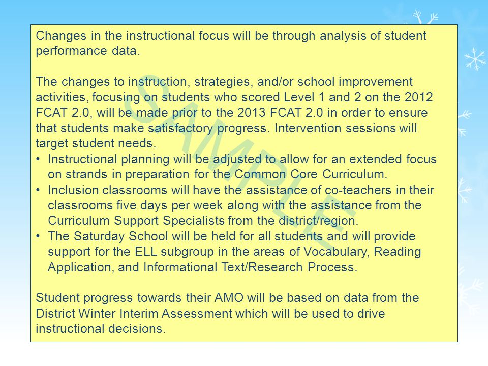 25 Changes in the instructional focus will be through analysis of student performance data.