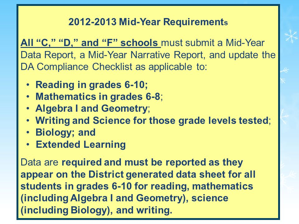 3 2012-2013 Mid-Year Requirement s All C, D, and F schools must submit a Mid-Year Data Report, a Mid-Year Narrative Report, and update the DA Compliance Checklist as applicable to: Reading in grades 6-10; Mathematics in grades 6-8; Algebra I and Geometry; Writing and Science for those grade levels tested; Biology; and Extended Learning Data are required and must be reported as they appear on the District generated data sheet for all students in grades 6-10 for reading, mathematics (including Algebra I and Geometry), science (including Biology), and writing.