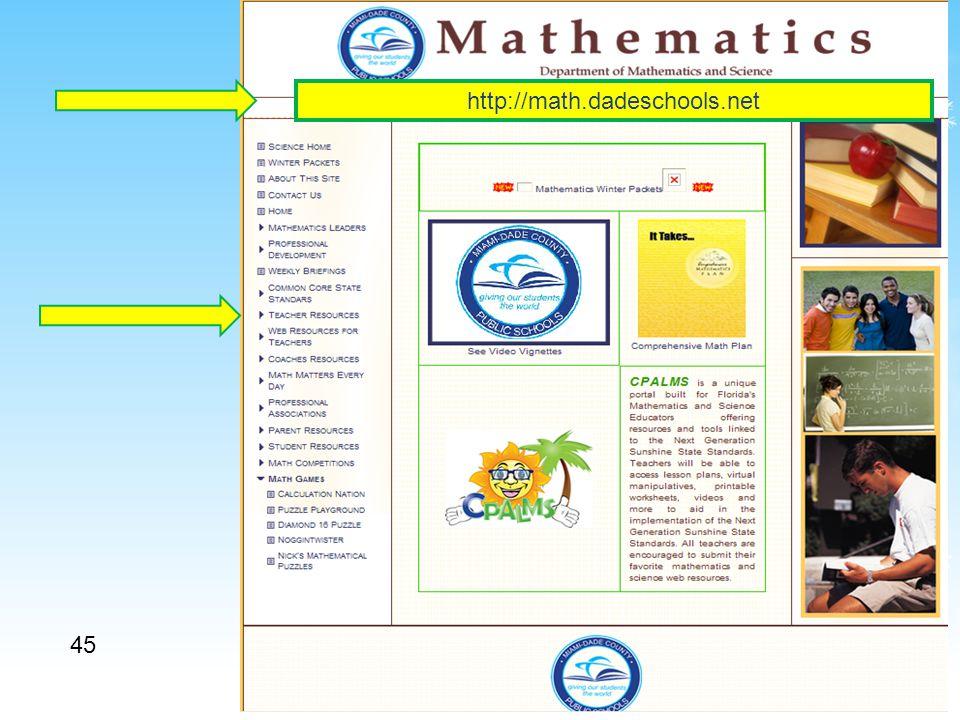 45 http://math.dadeschools.net