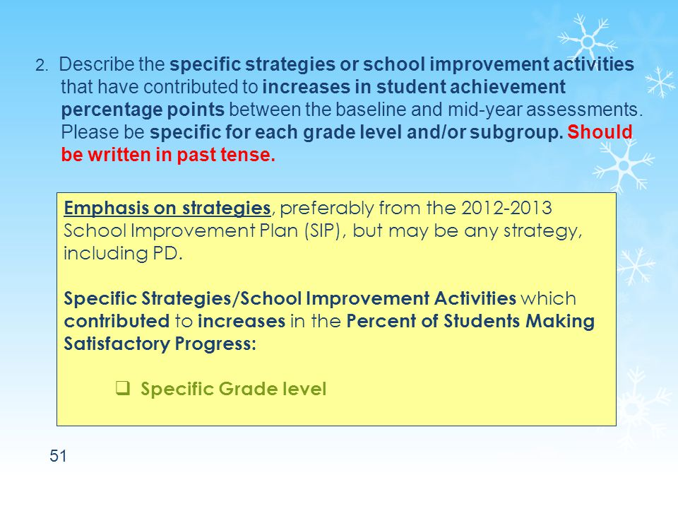 51 2. Describe the specific strategies or school improvement activities that have contributed to increases in student achievement percentage points be